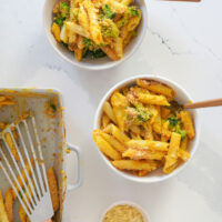 Dairy Free Baked Mac and Cheese with Broccoli
