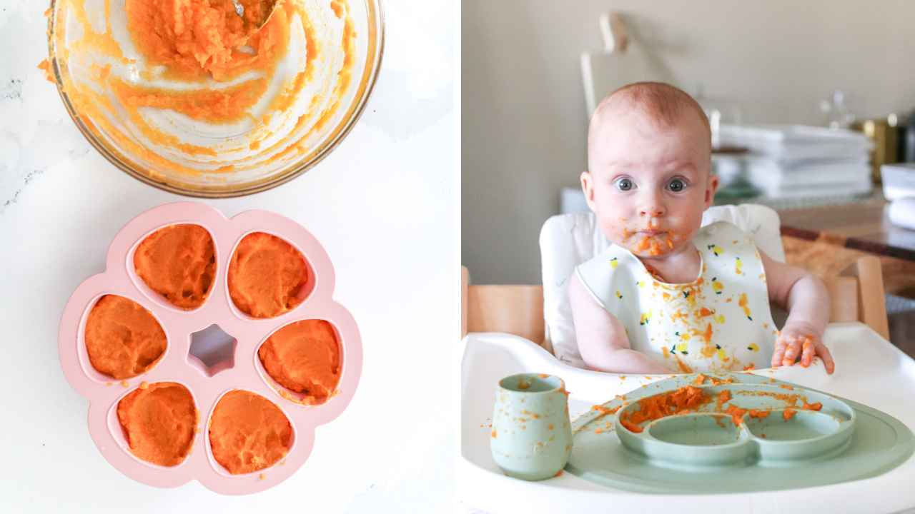 a 6 month old baby eating pureed sweet potato, alongside a photo of sweet potato in a baby food storage tray