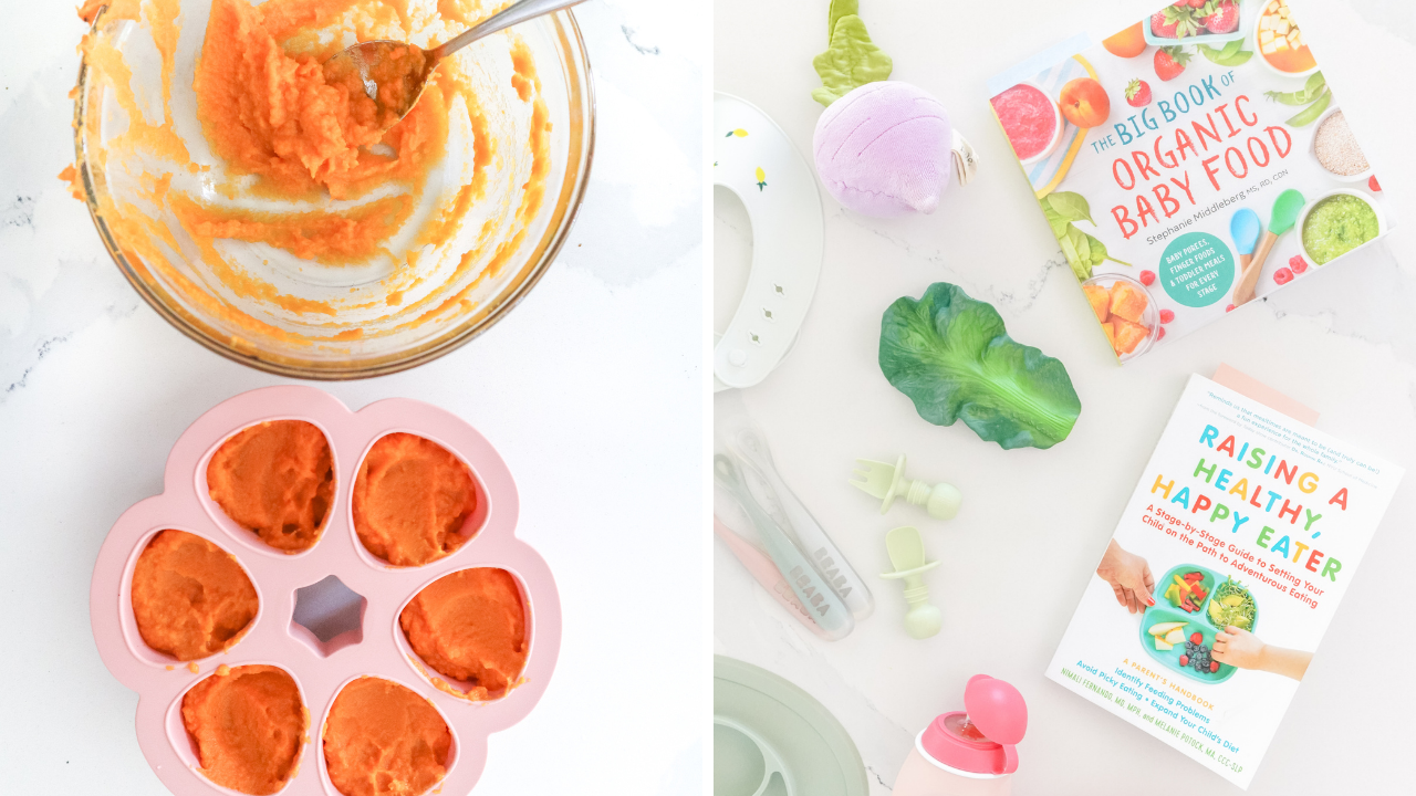 a bowl of purees alongside some baby led weaning books