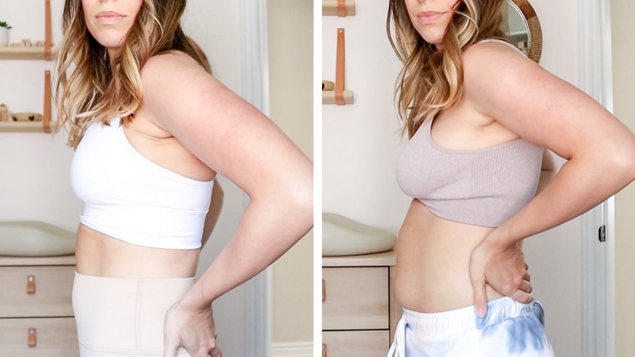 side by side shot of a woman at 6 months postpartum wearing different outfits