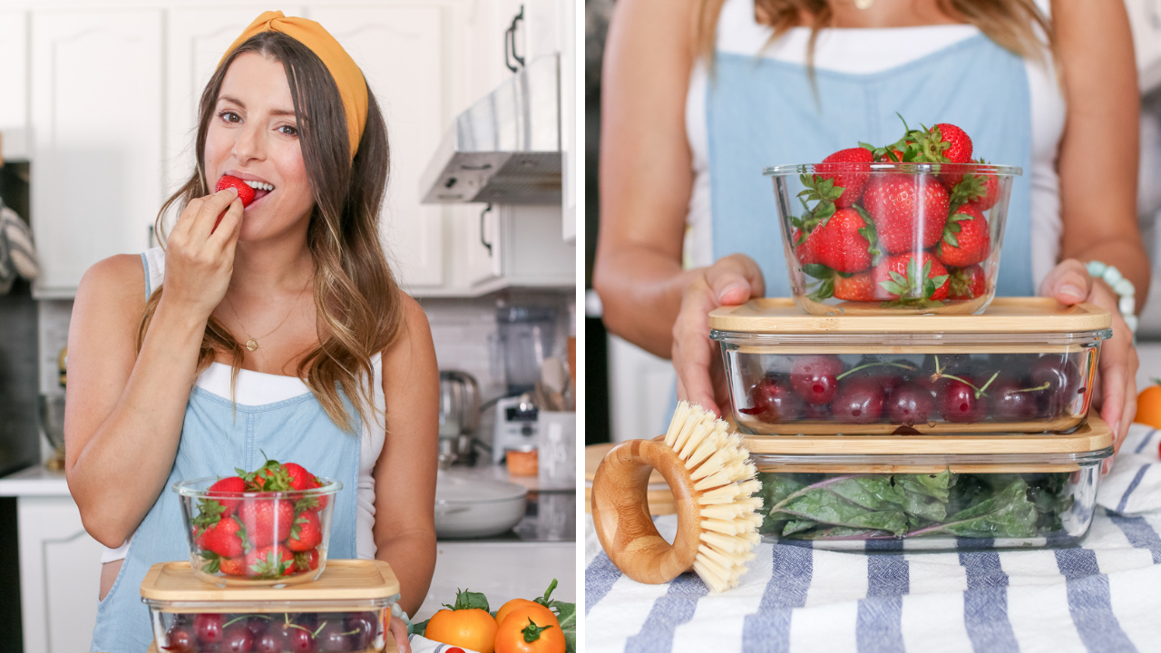 woman wearing blue top eating strawberries out of glass containers