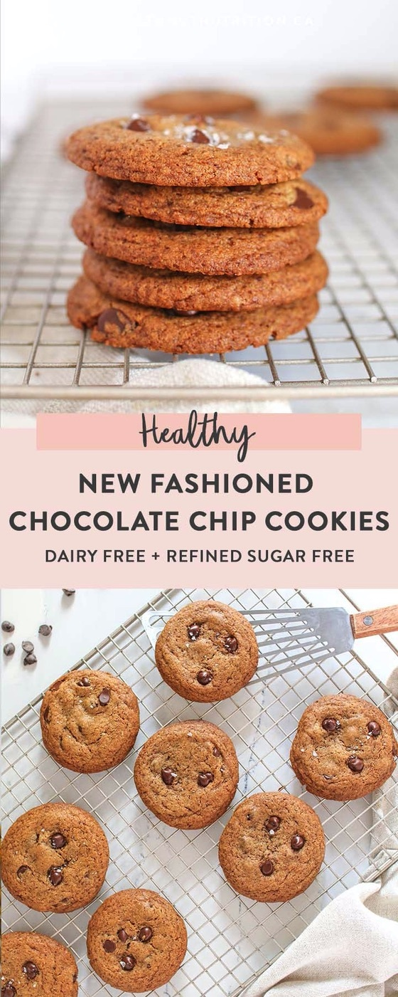 two photos of chocolate chip cookies separated by a pink bar which reads 'healthy new fashioned chocolate chip cookies'