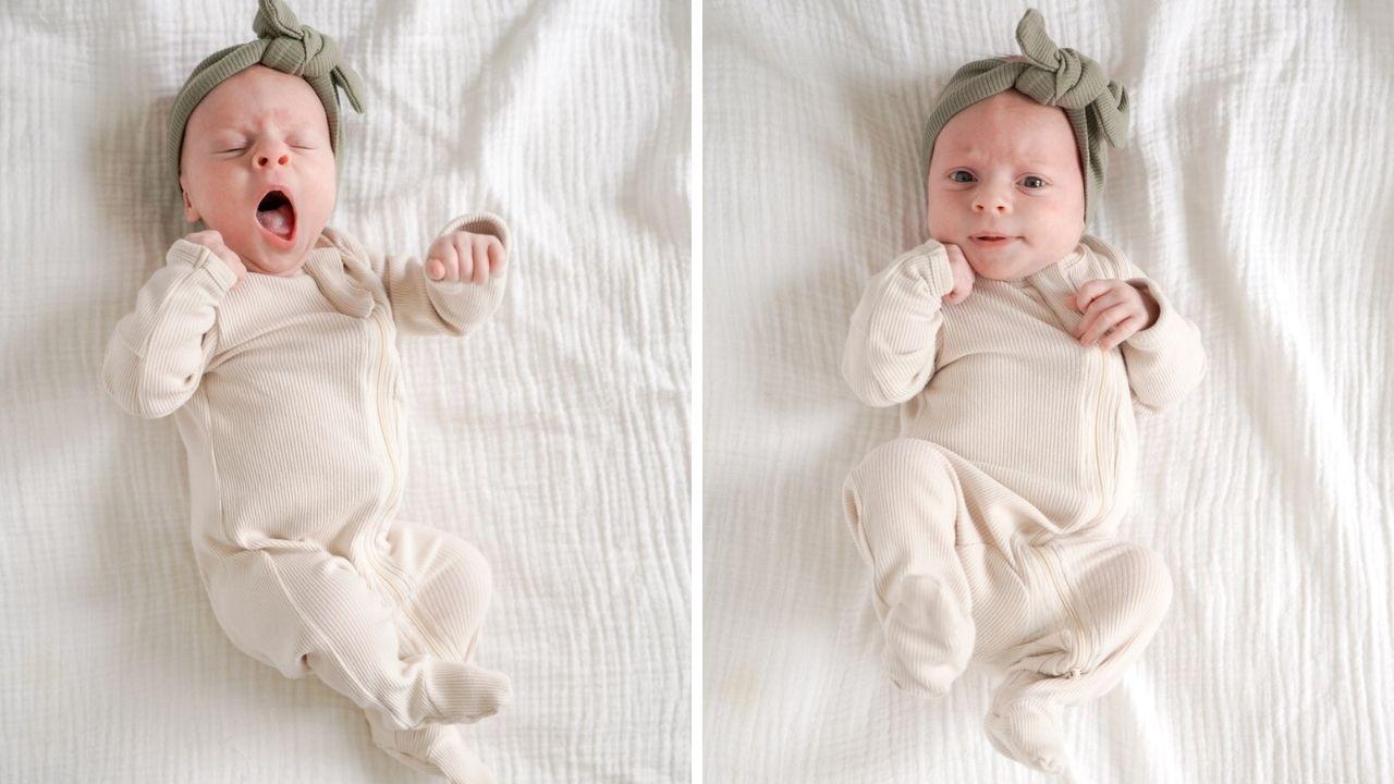 a split photo of a newborn baby yawning