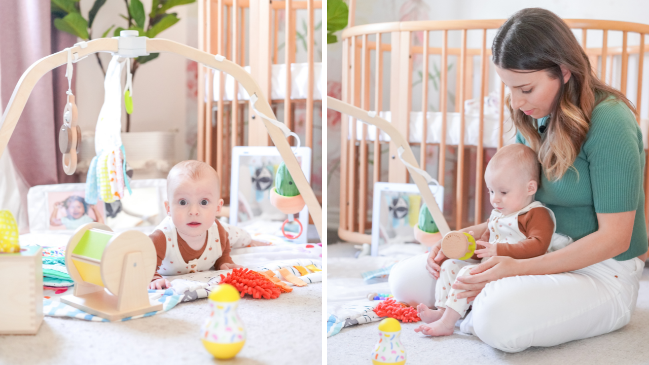 6 month old baby playing with her mother with toys from a toy subscription box