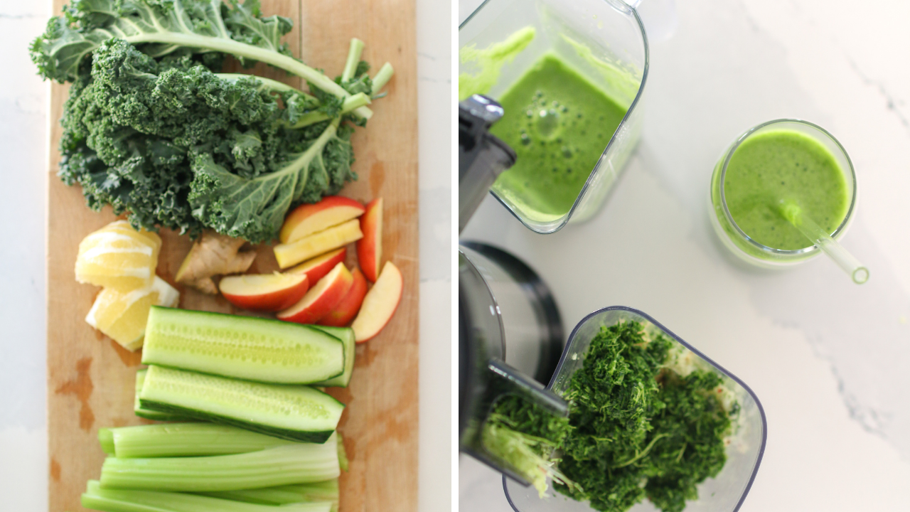 a split photo of a green juice and the ingredients