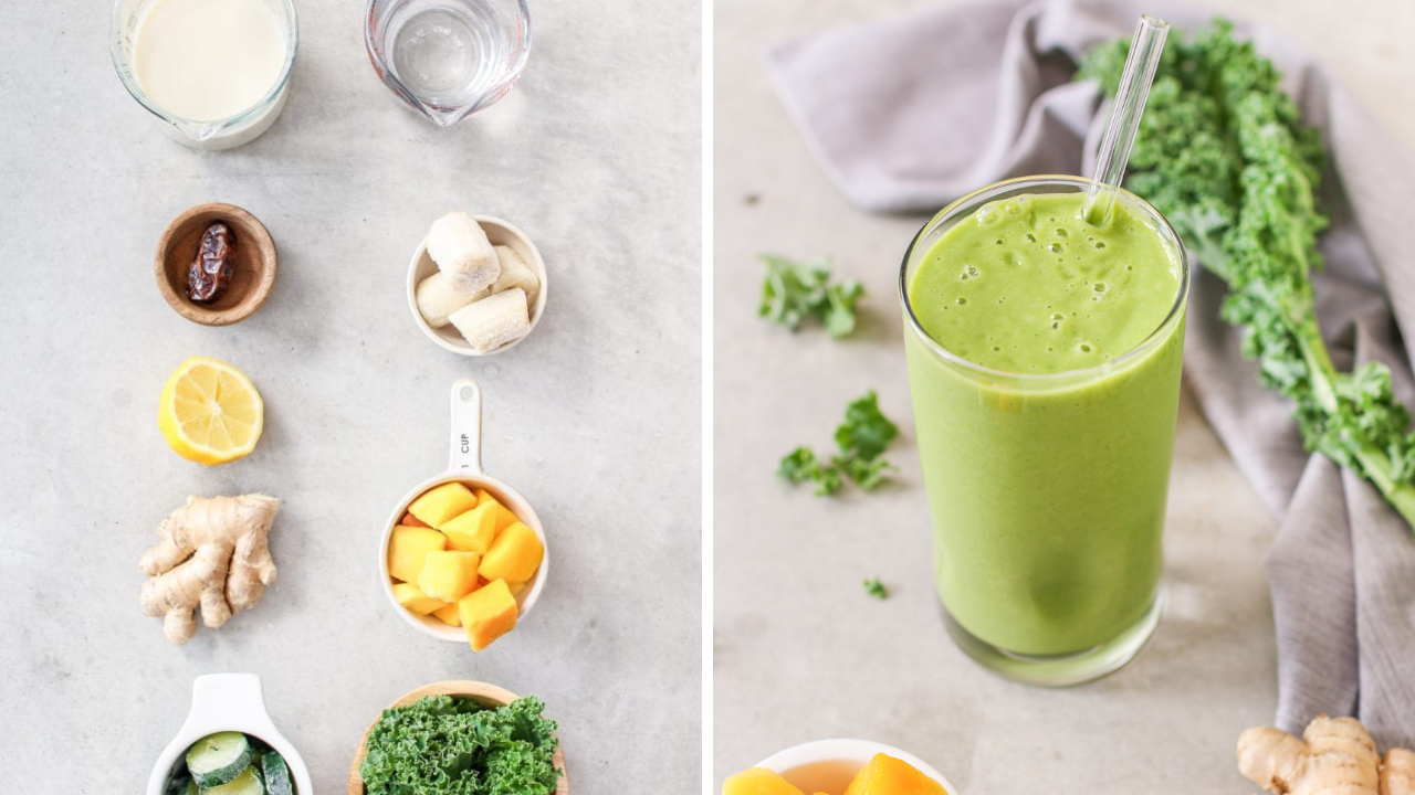 split photo of a green smoothie and the ingredients