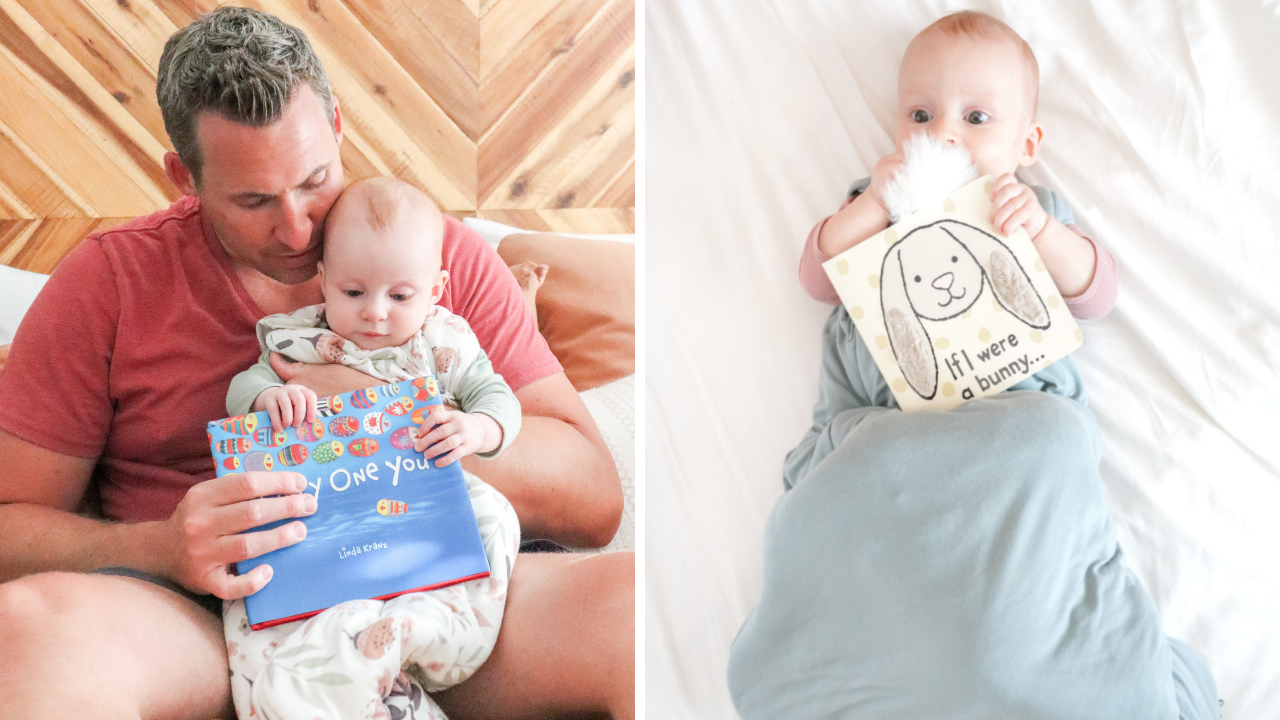 a split photo showing a dad reading to his baby, and a baby wrapped in a swaddle playing with a book