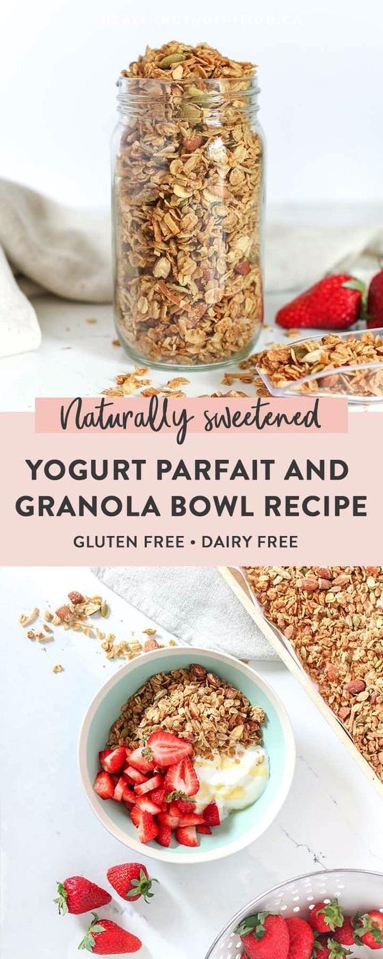 a split photo showing a jar of granola and a yogurt parfait bowl