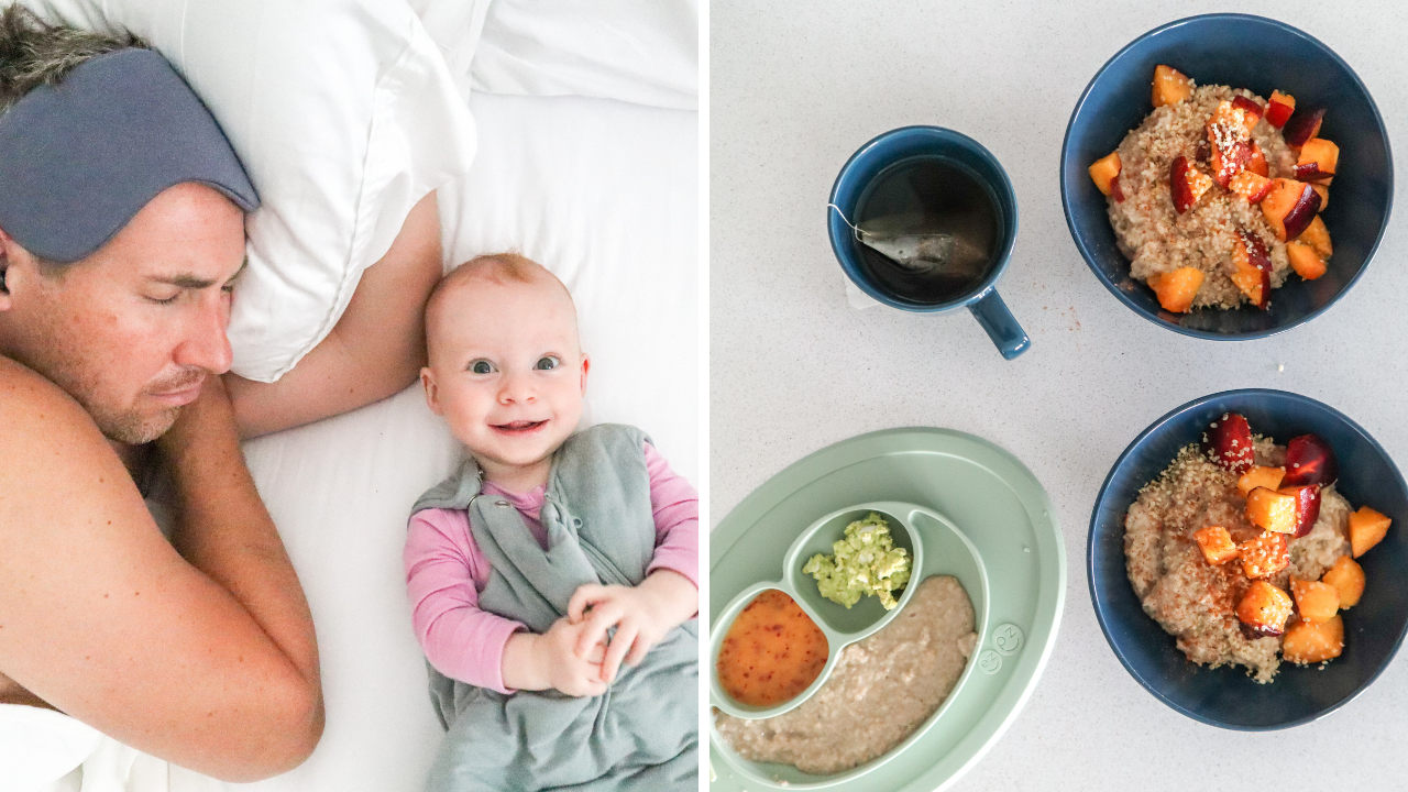 Split photo showing a mother and baby, and three bowls of breakfast