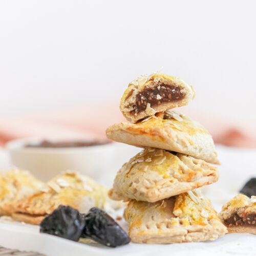 chia prune healthy energy bars stacked on top of eachother