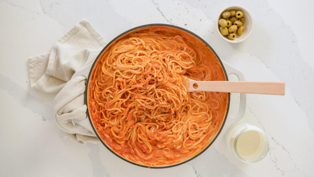 a creamy pasta dish in a pot