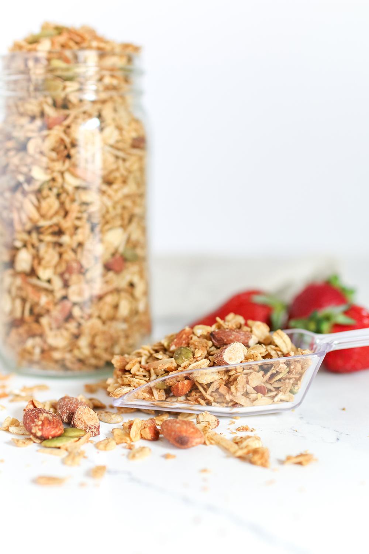 a mason jar of homemade granola