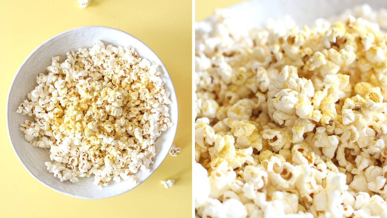 split photo of popcorn in a white bowl on a yellow background
