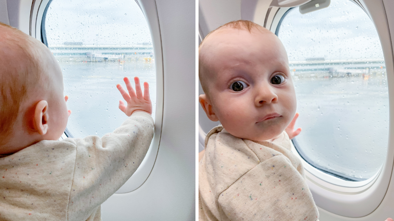 split photo of a baby looking out a plane window
