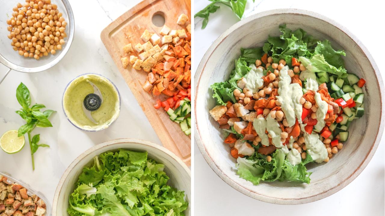 split photo of salad prep and a bowl of salad