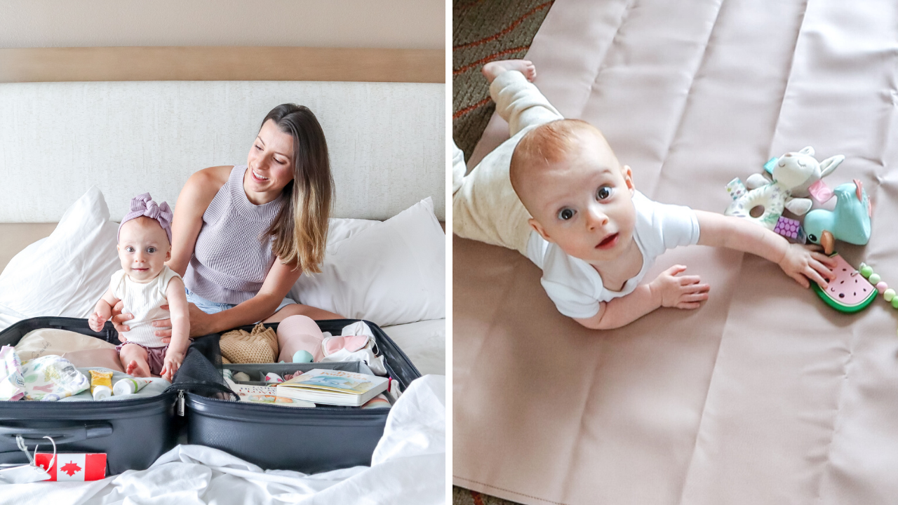 split photo of a mom with her baby in a suitcase, and a baby playing on a play mat