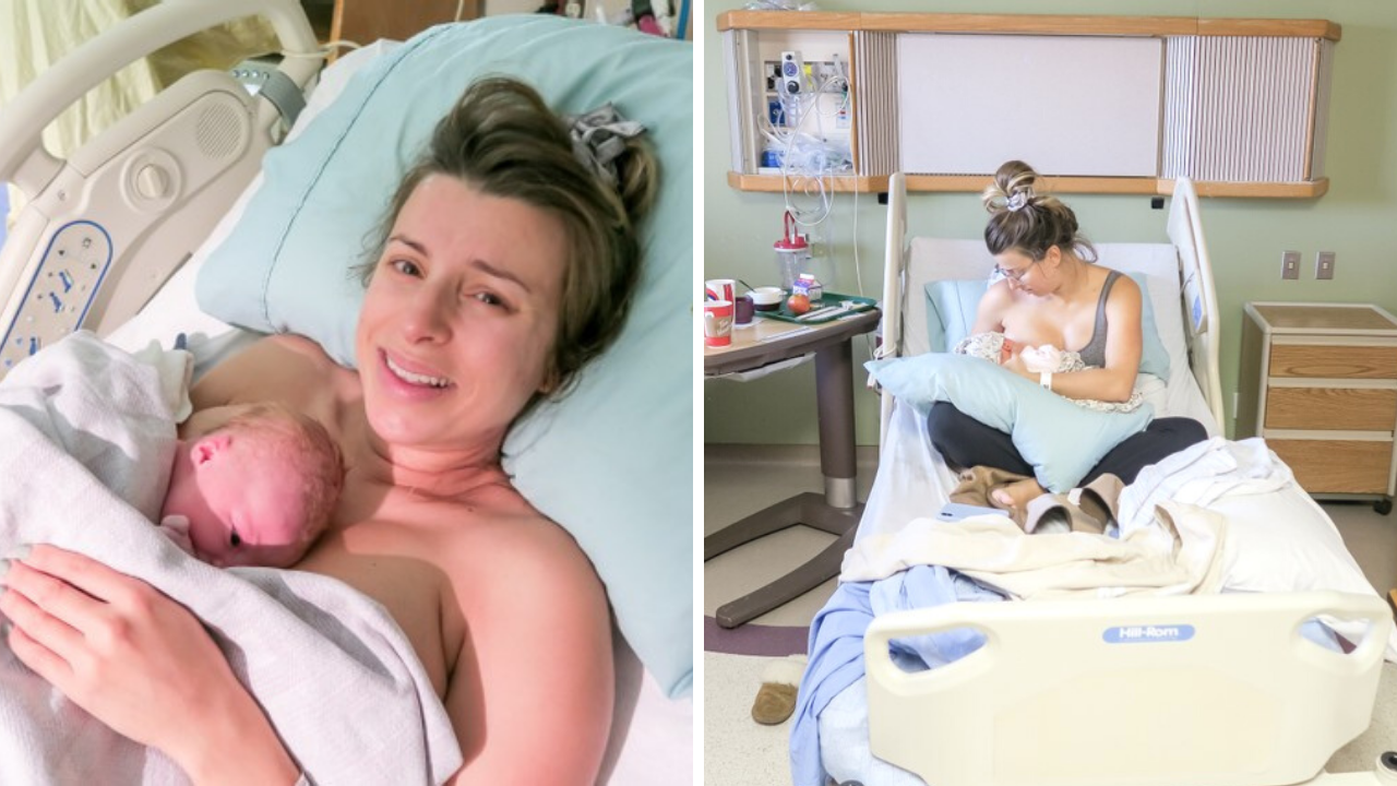 split photo showing a woman having just given birth, and breastfeeding for the first time