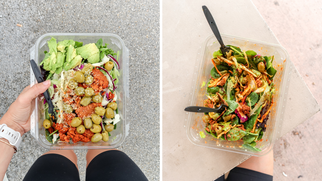 a split photo showing two different on the go salads