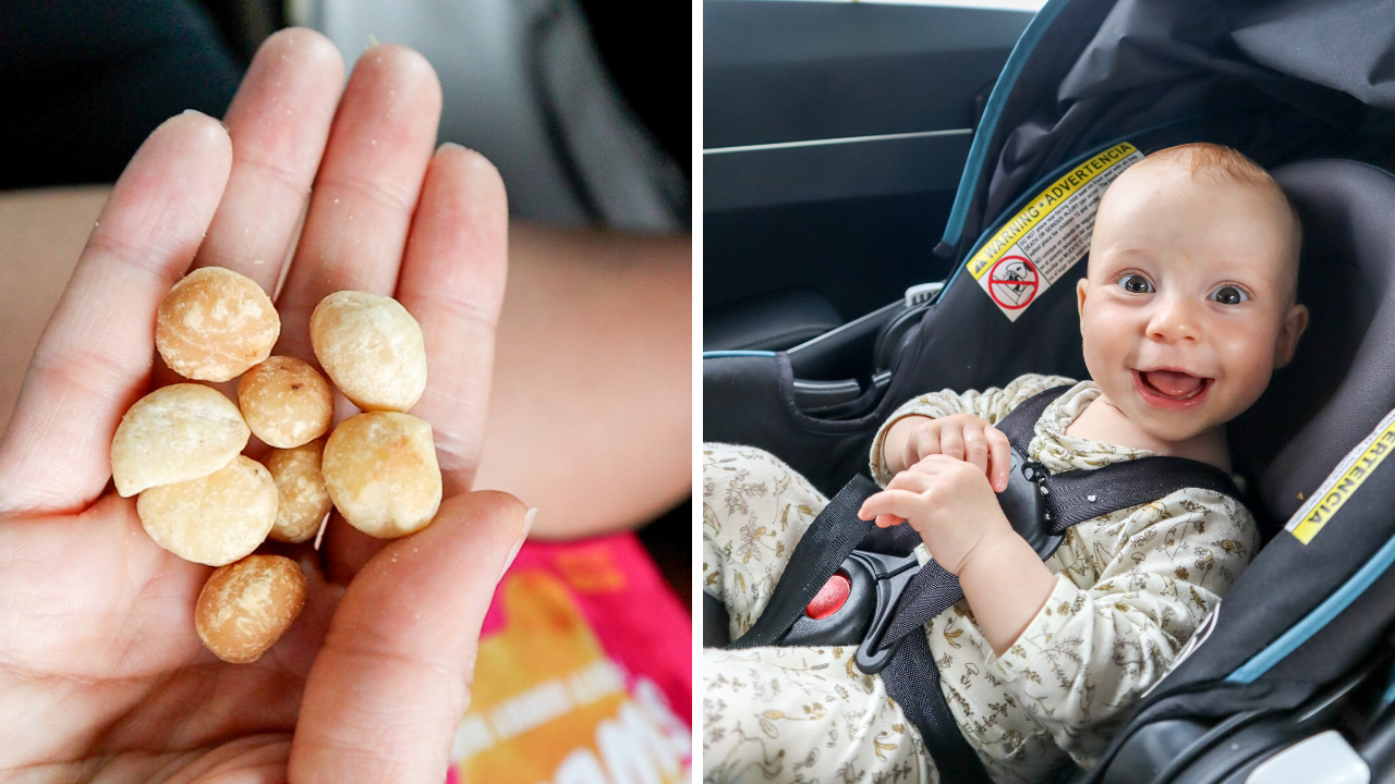 a split photo showing a handful of macadamia nuts and a baby in a car seat