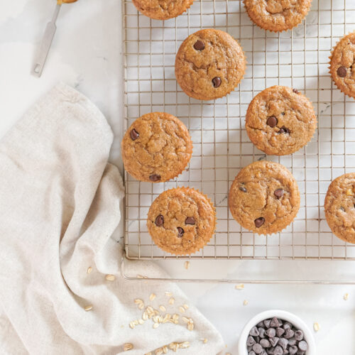 Peanut Butter Banana Chocolate Chip Muffins on a cooling rack