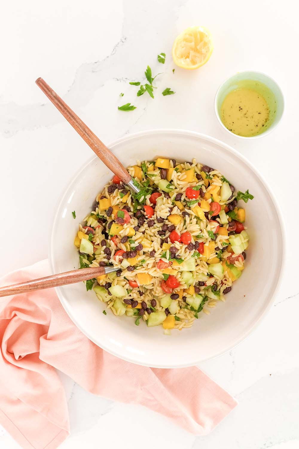 orzo pasta salad in a bowl