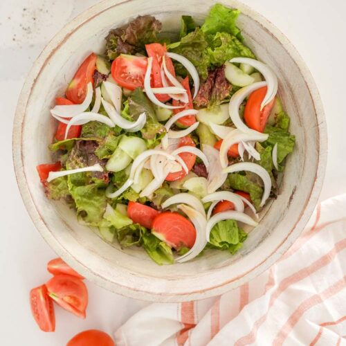 a simple Portuguese salad in a salad bowl